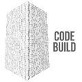 Skyscrapers code. Binary digital form of futuristic city building Royalty Free Stock Photo
