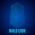 Skyscrapers code. Binary digital form of futuristic city building