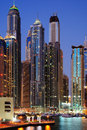 Skyscrapers of Dubai Marina at twilight Royalty Free Stock Photo