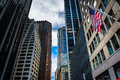 Skyscrapers in the Financial District of Manhattan, New York. Royalty Free Stock Photo
