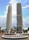 Skyscrapers with fountain panama city two in foreground central america Royalty Free Stock Image