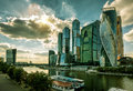Skyscrapers of moscow сity august international business center over moskva river city is a modern Royalty Free Stock Photo