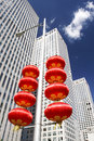 Skyscrapers and red lanterns Royalty Free Stock Photos