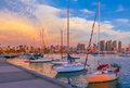 Skyscrapers of San Diego Skyline, Sunset at the harbor, CA(P) Royalty Free Stock Photo