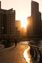 Skyscrapers silhuette at sunset in dubai marina uae december on december contre jour shot Royalty Free Stock Photography