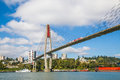 Skytrain bridge linking Surrey and New Westminster cities in BC Royalty Free Stock Photo