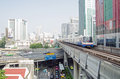 Skytrain near phloen chit station bangkok thailand october a travelling on elevated track through central bangkok just ahead of in Royalty Free Stock Photos