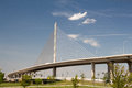 Skyway the veterans glass city or the toledo bridge is a cable stayed bridge in toledo ohio Stock Images