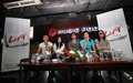 Slank indonesia top abnd giving press conference before their concert in solo central java indonesia Stock Photography