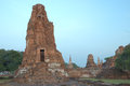 Slant ancient ruin pagoda from orange brick in ayutthaya province Stock Images