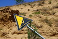 Slant road sign a abrupt slope besides outdoors Royalty Free Stock Images