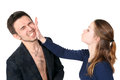 Slap in the face quarrelling men and woman Royalty Free Stock Photography