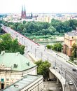 Slasko dabrowski bridge cityscape of warsaw poland praga district behind the vistula river Stock Image