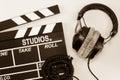 Slate film headphone white backgroun