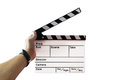 Slate on hand for the filming. Royalty Free Stock Photo