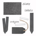 Slate labels with crayon Royalty Free Stock Photo