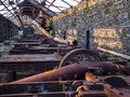 Slate quarry machinery dinorwig cutting beds mill house showing old now rusted and dilapidated quarries snowdonia cymru wales Royalty Free Stock Photos