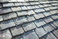 Slate roof aged tiles close up Stock Image