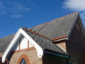 Slate Tiled Roof on Old Church Royalty Free Stock Photo
