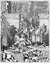 Slaughter of the sons of zedekiah before their father picture from holy scriptures old and new testaments books collection Stock Photos
