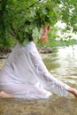 Slav woman in the water Royalty Free Stock Photo