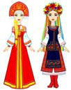 Slavic people. Animation portrait of the Russian and Ukrainian woman in traditional clothes. Eastern Europe. Fairy tale character