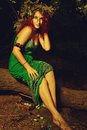Slavonic witch pretty redhead in the forest Stock Images