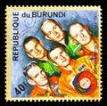 """Slayton, Brand, Stafford, Leonov and Kubasov, """"Apollo–Soyuz� Royalty Free Stock Photo"""