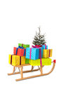 Sled with many Chirstmas presents Stock Photos