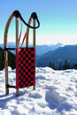 Sled in snow at mountains a the Royalty Free Stock Image