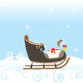 Sled Snow Winter Bell Lovely Kid Special Christimas Vector Illustration Royalty Free Stock Photo