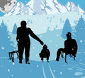 Sledging at night in winter vector illustrated people a Royalty Free Stock Images