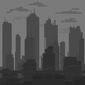 Sleek black and white city painted flat brush vector Royalty Free Stock Photo