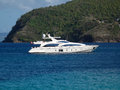 A sleek yacht at anchor in admiralty bay motor pleasure craft the windward islands Stock Photography