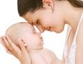 Sleep baby tender mom closeup with Stock Image