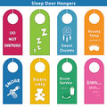 Sleep bedroom door hanger signs brights styles for sleepy time bright colors Stock Images