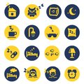 Sleep and insomnia icons in yellow dark blue circles vector illustration Royalty Free Stock Photo