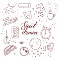 Sleep and insomnia outline items including moon, stars, sheep, pillow, tea or coffee, pills, dream catcher, mask, alarm clock