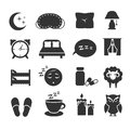 Sleep, night relax, pillow, bed, moon, owl, zzz vector icons sleeping symbols set