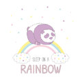 Sleep on a rainbow illustration with a panda