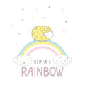 Sleep on a rainbow illustration with a sheep Royalty Free Stock Photo