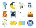 Sleep time icons set in a flat style. Collection nap night bedtime isolated on white background. Royalty Free Stock Photo