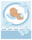 Sleeping african baby boy blue frame Royalty Free Stock Images