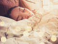 Sleeping Asian woman. Royalty Free Stock Photo