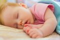 Sleeping baby close up portrait of a beautiful Stock Images