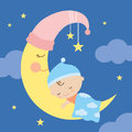 Sleeping baby on the moon illustration of a Stock Photography