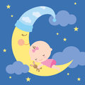 Sleeping baby on the moon illustration of a Stock Photos