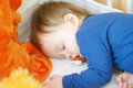 Sleeping baby with pacifier portrait of age of year Royalty Free Stock Images