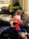 Sleeping beauties grandmom grandson infant boy Stock Photos