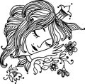 Sleeping beautiful princess charming with long hair a crown and floral patterns Stock Photo
